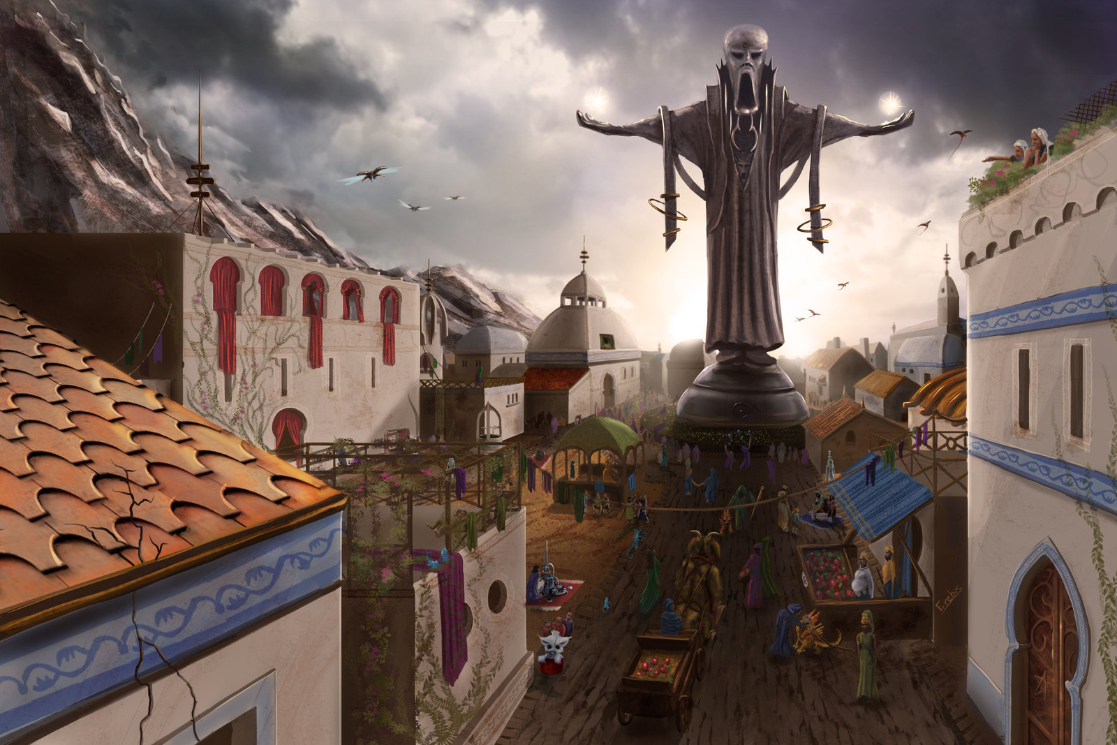 Numenera: city with statue